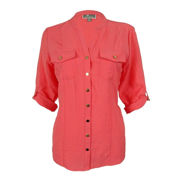 JM Collection Women's Button Down Tab-Sleeve Top - coral pizazz
