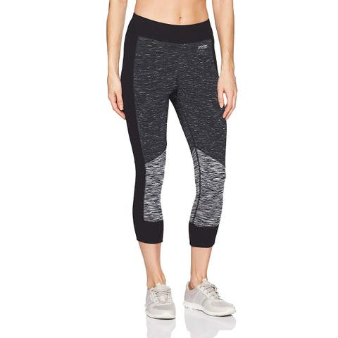 Calvin Klein Women's Performance Ribbed Colorblock Crop Legging Black Heather Size Small