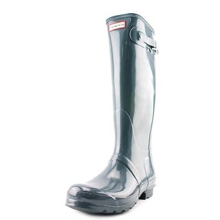 Hunter Orginal Tall Glossy Women  Round Toe Synthetic Gray Rain Boot