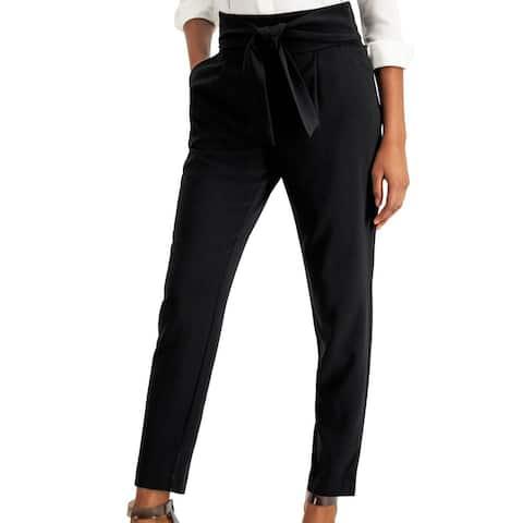 Bar III Womens Dress Pants Black Size 2 Tie-Front Pleated Slim Trousers