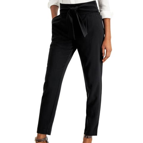 Bar III Womens Dress Pants Black Size 6 Tie-Front Crepe Slim Leg Trouser