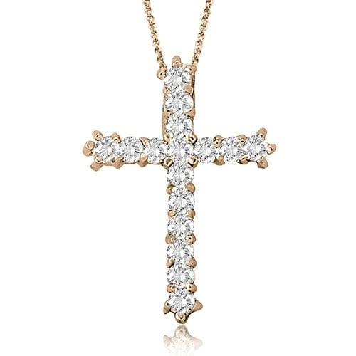 9c40a51a6dc17 0.50 cttw. 14K Rose Gold Round Cut Cross Diamond Pendant