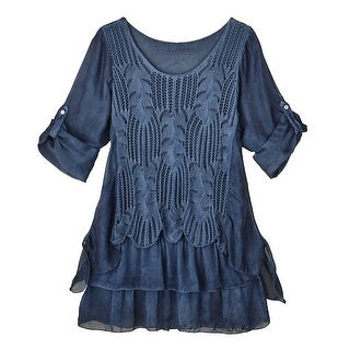 Women's Indigo Layers Silky Blue Tunic Top - 3/4 Roll Tab Sleeves