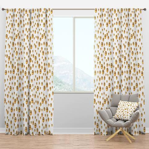 Designart 'Golden Circular Pattern II' Mid-Century Modern Blackout Curtain Panel