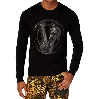 Versace NEW Black Mens Size Medium M Crewneck Logo Embossed Sweater