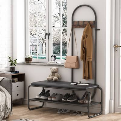 Hall Tree Coat Rack and Shoe Bench for Entryway, Entry Hall Tree with Bench and 2 Tier Shoe Storage