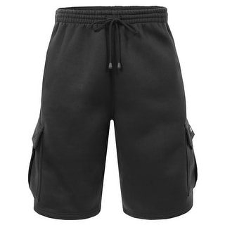 NE PEOPLE Mens Comfy Elastic Drawstring Fleece Cargo Sweat Shorts