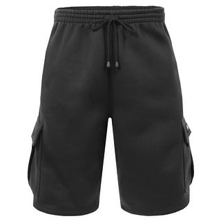 NE PEOPLE Mens Comfy Elastic Drawstring Fleece Cargo Sweat Shorts