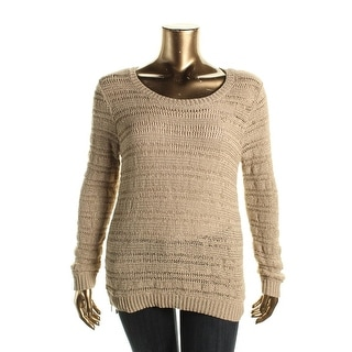 MICHAEL Michael Kors Womens Open Stitch Metallic Pullover Sweater - XL