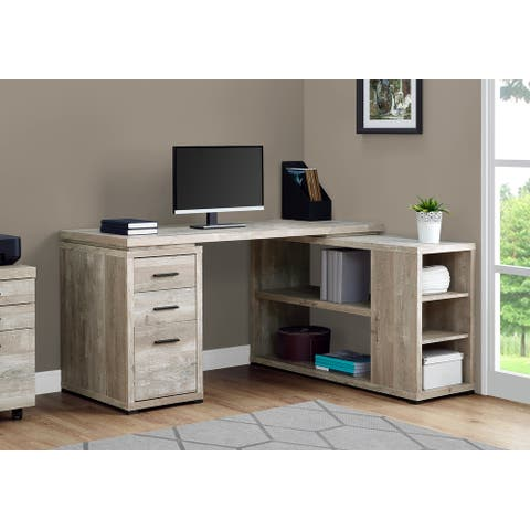 Taupe Reclaimed Wood Left Or Right Facing Corner Computer Desk