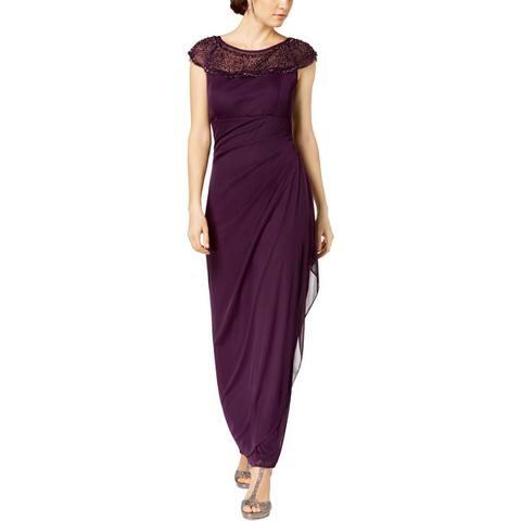 MSK Womens Evening Dress Beaded Yoke Cascade Ruffle