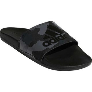 adidas Men's Adilette Cloudfoam Plus Logo Slide Core Black/FTWR White/Carbon