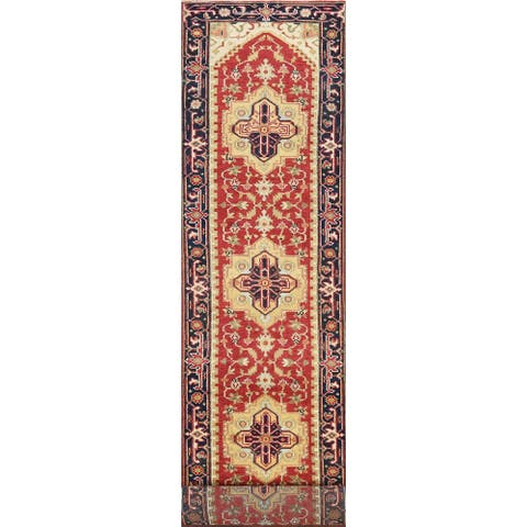 "Geometric Indo Heriz Serapi Oriental Wool Runner Rug Handmade Carpet - 2'6"" x 14'2"""