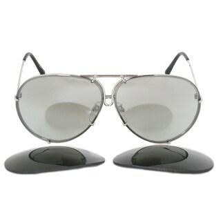 Porsche Design Aviator Sunglasses P8978 B 66 Silver Frame Silver Mirror Lenses