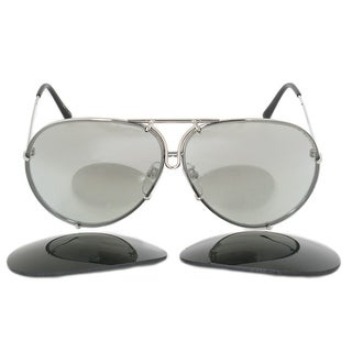 Porsche Design Design P8978 B 69 Aviator Sunglasses for Men Silver Titanium Frame Interchangeable Grey Gradient Silv