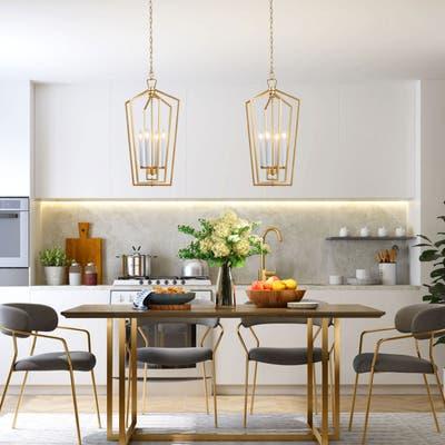 "Transitional Lantern Chandelier 4-lights Golden Pendant Lighting for Kitchen Island - W14""xH28"""