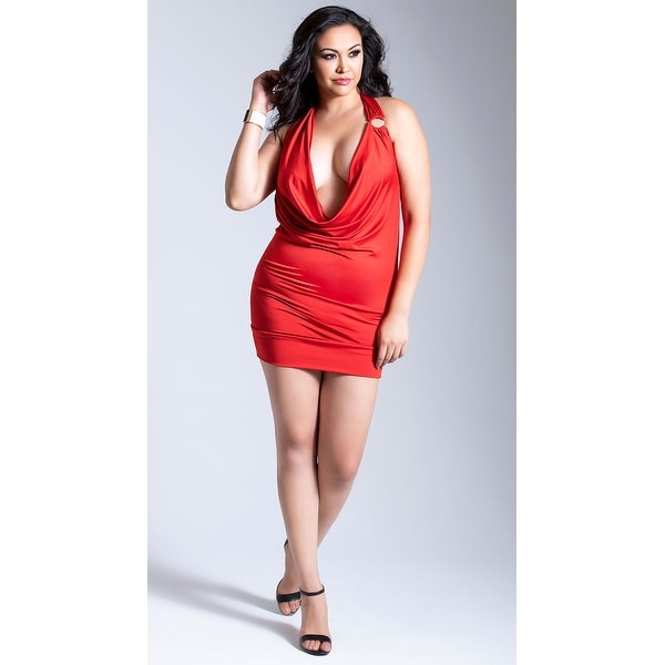 Plus Size Deep-v Front Party Dress, O Ring Dres