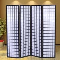 Costway 4 Room Divider Shoji Wood Folding Oriental Style Black