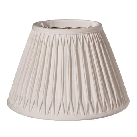 Cloth & Wire Slant Transitional Bell Double Smocked Pleat Softback Lampshade with Washer Fitter, Cream