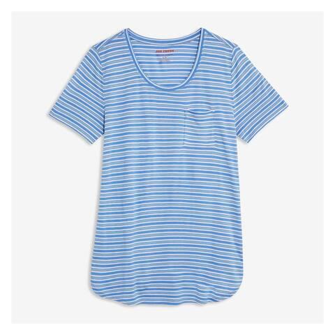 Joe Fresh Blue Womens Size XS Boyfriend Scoop Neck Striped Tee Top 503