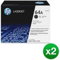 HP 64A Black Original LaserJet Toner Cartridge (CC364AG)(2-Pack)
