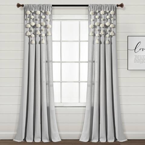 "Lush Decor Boho Pom Pom Tassel Linen Window Curtain Panel (Single) - 84"" x 52"""