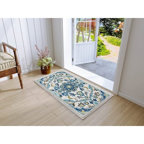 Traditional Vintage Floral Ornament Cream Blue Area/ Kitchen Rugs