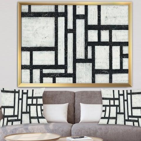 Designart 'Black and White Labyrinth geometric' Mid-Century Modern Framed Art Print
