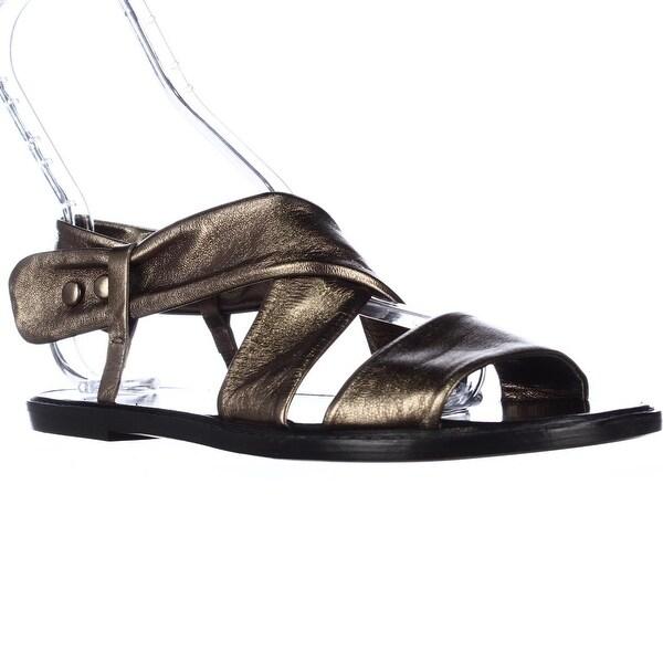 Kalliste 5834 Flat Cross Strap Sandals, Dark Gold