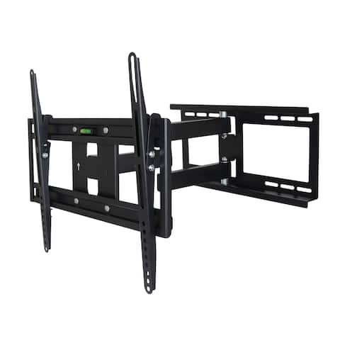 MegaMounts Full Motion Wall Mount with Bubble Level for 26 - 55 Inch LCD, LED, and Plasma Screens - Black
