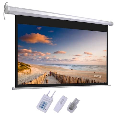 """Leadzm 92"""" 16:9 80"""" x 45"""" Viewing Area Motorized Projector Screen with Remote Control Matte White"""