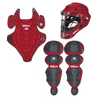 Wilson 2018 WTA368800LX Youth EZ Gear Catcher's Kit, Scarlet, Large/X-Large Ages 7-12