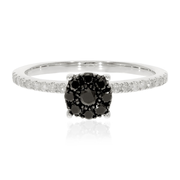 Prism Jewel 0.43Ct Round Black Diamond with Natural Diamond Engagement Ring