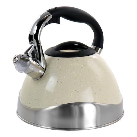 MegaChef 3 Liter Stovetop Whistling Kettle in Light Tan Speckle