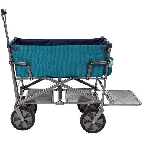 Mac Sports Heavy Duty Steel Double Decker Collapsible Yard Cart Wagon