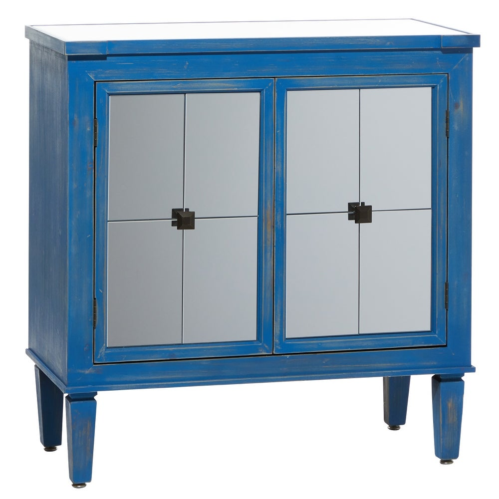 """Studio 350 Rectangular Distressed Blue Wood Cabinet With Mirrored Top And Doors 32"""" X 33"""" - 32 x 16 x 33 (32 x 16 x 33 - Blue)"""