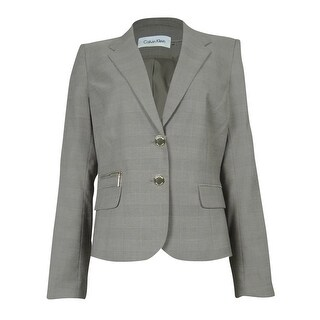 Calvin Klein Women's Pocketed Checker Blazer