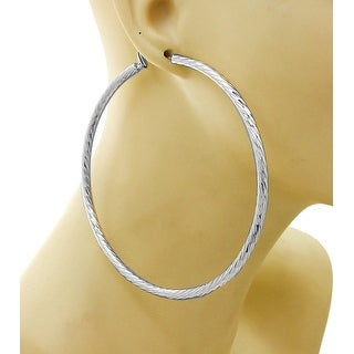 Hatching Textured Large Hoop Silver Earrings