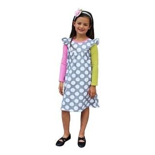 Girls Sage Pink Gray Polka Dot Pattern Long Sleeved Casual Dress