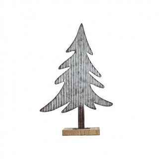 """17.25"""" Small Flat Corrugated Metal Tree Table Top Decoration"""