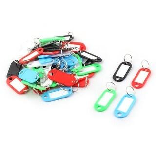 Unique BargainsLuggage Plastic ID Label Name Key Badge Clip Holder Keyring Assorted Color 50pcs