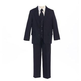 Sweet Kids Baby Boys Navy 2 Button Jacket Vest Shirt Vest Tie Pants Suit 6-24M