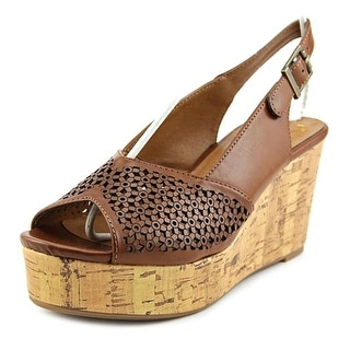 Madeline Doting Women Open Toe Synthetic Brown Wedge Sandal