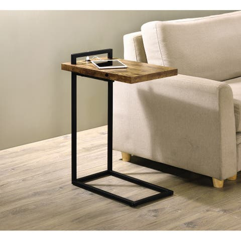C-shaped Accent Table with USB Charging Port