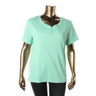 Karen Scott Womens Plus Cotton Short Sleeves Henley Top