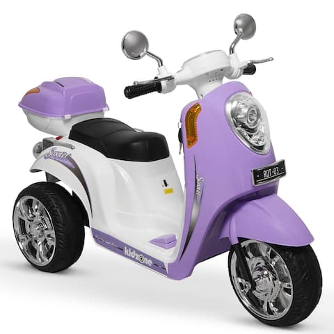 Kidzone Ride On Scooter 6V Battery Powered 3-Wheel W/ Music, Purple - Standard