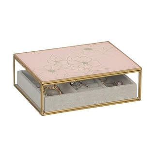 Link to Mele & Co. June Glass Jewelry Box with Pink Floral Mirrored Lid Similar Items in Accent Pieces