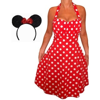 Funfash Plus Size Halloween Costume Red White Polka Dot Dress Minnie Mouse Ears