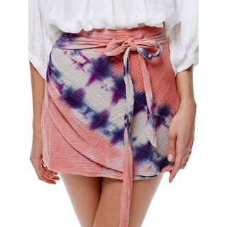 Free People Womens A-Line Skirt Tie-Dye Quilted