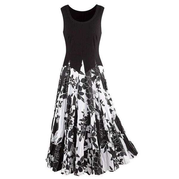 687ae537470 Shop Kaktus Sportswear Women s Tropical Print Maxi Dress - Sleeveless Black    White - On Sale - Free Shipping Today - Overstock - 21174523